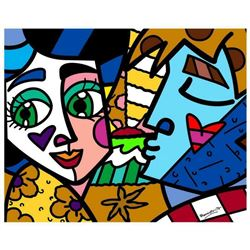 """Romero Britto """"Please Sweetheart"""" Hand Signed Limited Edition Giclee on Canvas; COA"""