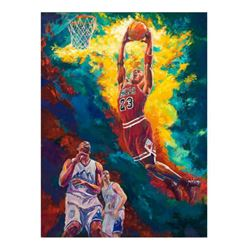 "Turchinsky Dimitry, ""Michael Jordan Dunks"" Hand Signed Mixed Media on Canvas with Letter of Authenti"