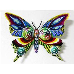"Patricia Govezensky- Original Painting on Cutout Steel ""Butterfly CXCVI"""