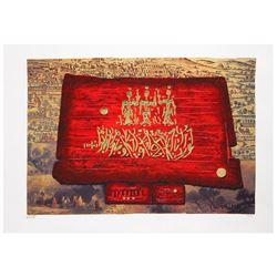 "Moshe Castel- Gold Embossed Serigraph  ""Glory to Jerusalem"""