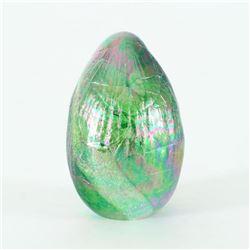 """Glass Eye Studios, """"Dichroic Egg, Terra"""" Hand Blown Glass Egg Sculpture (Second)."""