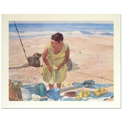 """William Nelson, """"Mexican Fruit Vendor"""" Limited Edition Serigraph, Hand Signed by the Artist."""