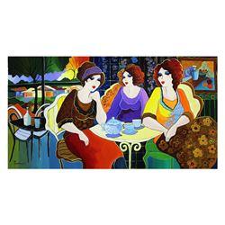 "Patricia Govezensky- Original Acrylic On Canvas ""Quiet Conversation"""