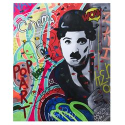 "Nastya Rovenskaya- Mixed Media ""Chaplin Is Hiding"""