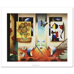 """Miro and Sunflowers"" Limited Edition Giclee on Canvas by Ferjo, Numbered and Hand Signed by the Art"