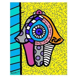 "Romero Britto ""Hamsa Yellow Down"" Hand Signed Giclee on Canvas; Authenticated"