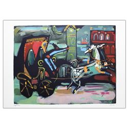 "Nachum Gutman- Original Lithograph ""Carriage By The Clock"""