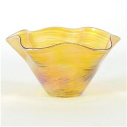 "Glass Eye Studios, ""Mini Wave Bowl (Gold)"" Hand Blown Glass Sculpture (Second)."