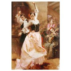 "Pino (1939-2010), ""Dancing in Barcelona"" Artist Embellished Limited Edition on Canvas (48"" x 34""), P"