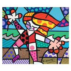 """Romero Britto, """"Golden Beaches"""" Hand Signed Limited Edition Giclee on Canvas; Authenticated"""