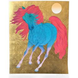 """Guillaume Azoulay- Serigraph on paper with hand laid gold leaf """"MONARQUE"""""""