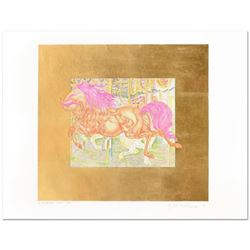 """Guillaume Azoulay- Limited Edition Hand Colored Etching with Hand Laid Gold Leaf """"Manege II"""""""