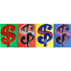 "Andy Warhol- Silk Screen (Portfolio consisting of 4 Dollar Sign prints) ""Dollars Signs"""