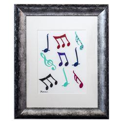 "Patricia Govezensky- Original Collage Painting ""Music Notes"""