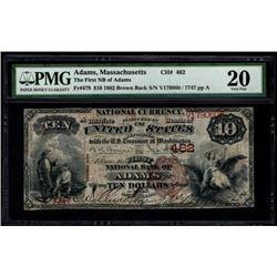 1882 $10 Adams National Bank Note PMG 20
