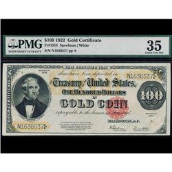1922 $100 Gold Certificate PMG 35