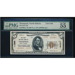 1929 $5 Thompson National Bank Note PMG 55EPQ