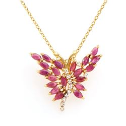 Plated 18KT Yellow Gold 4.05ctw Ruby and Diamond Pendant with Chain