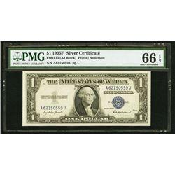 1935F $1 Silver Certificate PMG 66EPQ