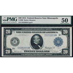 1914 $20 Minneapolis Federal Reserve Note PMG 50