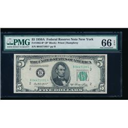 1950A $5 New York Federal Reserve STAR Note PMG 66EPQ