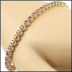 Plated 18KT Yellow Gold 4.45ctw Amethyst Bracelet