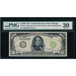 1934 $1000 Chicago Federal Reserve Note PMG 30
