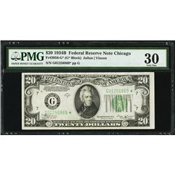 1934B $20 Chicago Federal Reserve STAR Note PMG 30