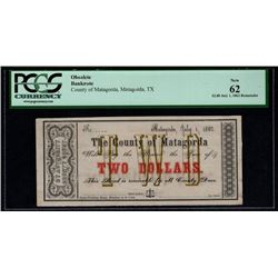 1862 $2 County of Matagorda Note PCGS 62