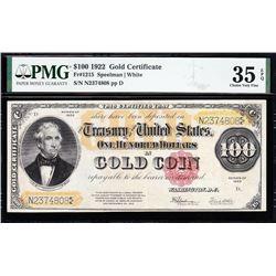 1922 $100 Gold Certificate PMG 35EPQ