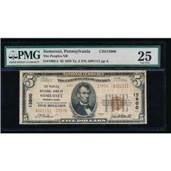 1929 $5 Somerset PA National Bank Note PMG 25