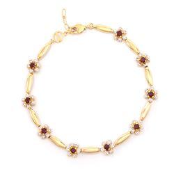 Plated 18KT Yellow Gold 0.92ctw Garnet and Diamond Bracelet