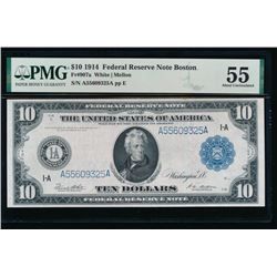 1914 $10 Boston Federal Reserve Note PMG 55