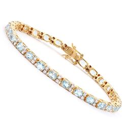 Plated 18KT Yellow Gold 10.45ctw Blue Topaz and Diamond Bracelet