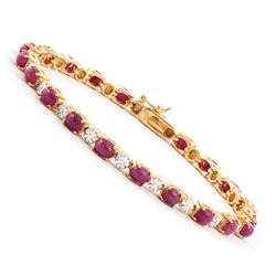 Plated 18KT Yellow Gold 12.25ctw Ruby and Diamond Bracelet