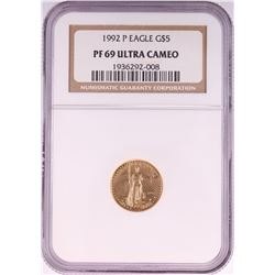 1992-P $5 Proof American Gold Eagle Coin NGC PF69 Ultra Cameo