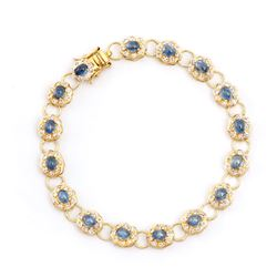 Plated 18KT Yellow Gold 6.25ctw Blue Sapphire and Diamond Bracelet
