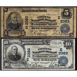 Set of 1902 PB $5/10 Citizens NB of Washington, PA CH# 3383 National Currency Notes