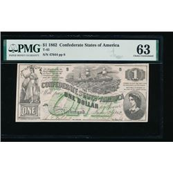 1862 $1 Confederate States of America Note PMG 63