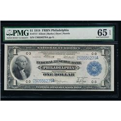 1918 $1 Philadelphia Federal Reserve Bank Note PMG 65EPQ