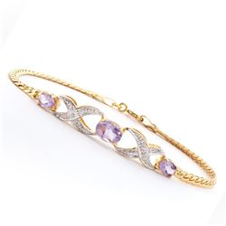 Plated 18KT Yellow Gold 1.80ctw Amethyst and Diamond Bracelet