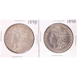 Lot of (2) 1898 $1 Morgan Silver Dollar Coins