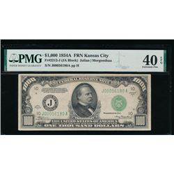 1934A $1000 Kansas City Federal Reserve Note PMG 40EPQ