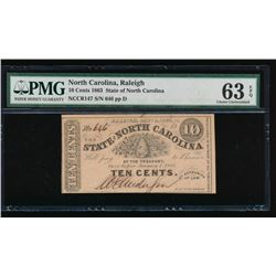 10 Cent 1863 Raleigh NC Obsolete Note PMG 63EPQ