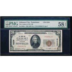 1929 $20 Johnson City National Bank Note PMG 58EPQ