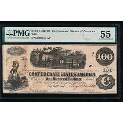 1862 $100 Confederate States of America Note PMG 55