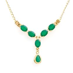 Plated 18KT Yellow Gold 6.10ctw Green Agate and White Topaz Pendant with Chain