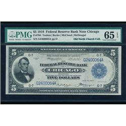 1918 $5 Chicago Federal Reserve Bank Note PMG 65EPQ