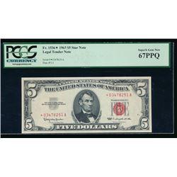 1963 $5 Legal Tender STAR Note PCGS 67PPQ