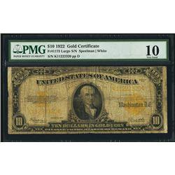 1922 $10 Gold Certificate PMG 10